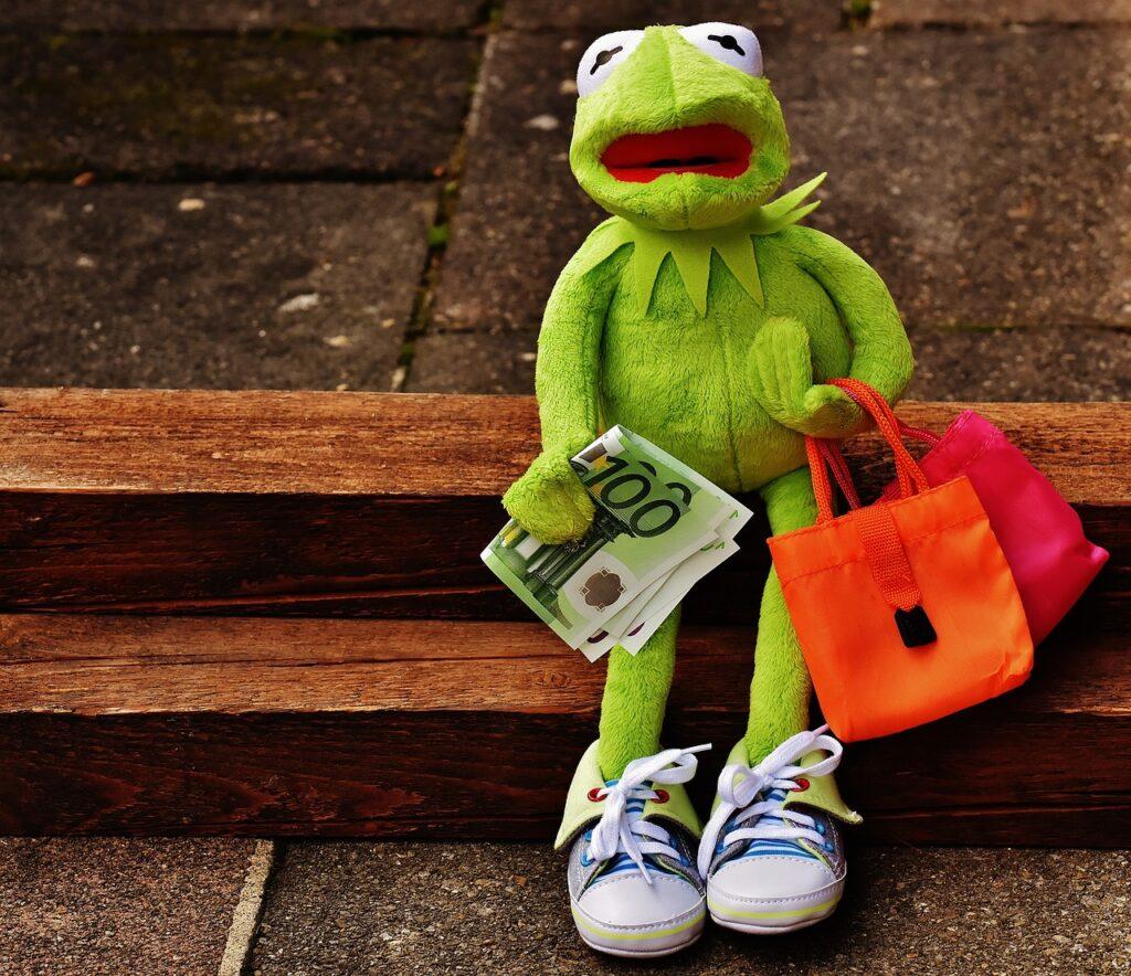 shopping, kermit, money
